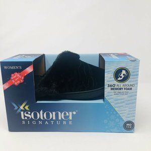 Isotoner Medium 7.5-8 Velour Clog Slippers Black